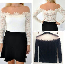 New Fashion Womens Sexy Off-Shoulder Long Sleeve Lace T-Shirt Blouse Slim Tops