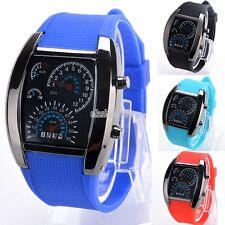 Sports RPM Turbo Blue & White Flash LED Car Speed Meter Dial Men Gift Watch EFFU