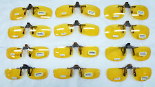 HD night driving vision sun glasses yellow lens flip up clip on shoot new mp55