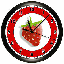 STRAWBERRY WALL CLOCK PERSONALIZED GIFT DECOR GIRLS BEDROOM FRUIT KITCHEN RED