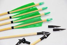 6X Archery Hunting Wood Arrow Turkey Feather Target Practice Longbow Compound