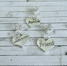 European bead name charms, mum, dad, nan, grandad, aunt, sister, all names