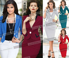 Womens Business Work Suit Colorblock Jacket Blazer & Bodycon Pencil Skirt Dress