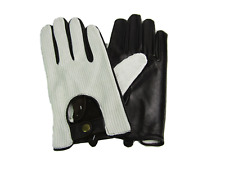 MENS NEW BLACK AND WHITE SOFT LEATHER DRIVING GLOVES 8925