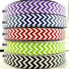 "1""25mm Mixed Colorful Chevron Grosgrain Ribbon Craft 5/100 Yards Craft Sewing"