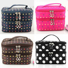 ZB0046 Women Lady Polka Dots Double Layer Cosmetic Toiletry Makeup Bag Hand Case