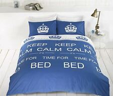 Keep Calm It's Time For Bed Single Duvet Cover & Pillowcase Bright Cheap