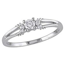 1/5 CT.T.W. Round Diamond Shared Prong Setting Promise Ring in 10K White Gold...