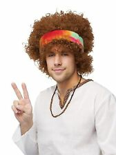 Hippie Wig & Bandana Tie Dye Curly Afro Fro Brown Mens Hippy Costume Hair Adult