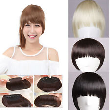 exquisite girls clips in front bangs fringe hair extension straight curly wm