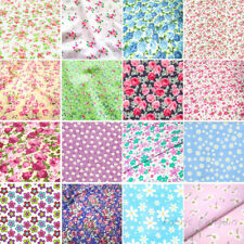 Floral Polycotton Fabric Material Metre Vintage Shabby Chic White Pink Blue