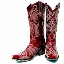 Lane Boots Red Ivory Stitching Wild Ginger Women's Cowboy Boots LB0031D