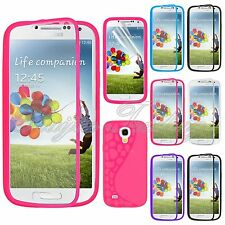 For Samsung Galaxy S4 Mini i9190 TPU Wrap Up Case Cover w/ Built-In Screen Guard
