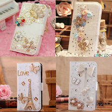 New Luxury 3D Bling Crystal Rhinestone Flip Wallet PU Leather Phone Case Cover