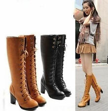 Women BOOTS Knee High Thick HEEL Zipper Laces ALL Way Up SHOES #241