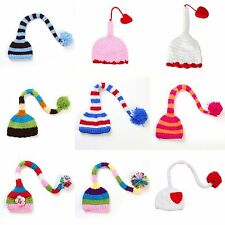 Lovely Colorful Long Tail Newborn Baby Infant Handmade Crochet Beanie Hat Cap