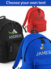 Personalised Embroidered School Bag with Animal Alphabet Boy's Backpack Rucksack