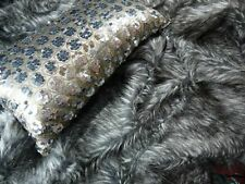 BLACK WITH SILVER GLITTER FAUX FUR THROW RUG BLANKET 180 X 250 OR 125 X 150 NEW