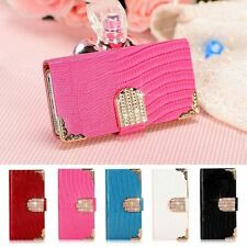Luxury Bling Diamond Leather Case Magnetic Flip Wallet Cover For iPhone Samsung