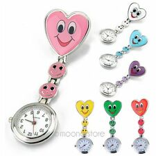 Heart Nurse Clip-on Fob Brooch Pendant Hanging Pocket Watch Heart Dial Colors