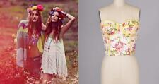 Summer Sexy Flower Floral Vtg Victorian Pinup Bustier Bandage Corset Tube Top