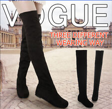 2016 fashion flat bottom boots shoes over the knee thigh high suede long boots