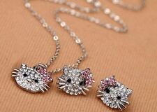crystal rhinestone pink kitty cat necklace & earring silver gift christmas set