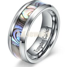 8MM Tungsten Carbide Abalone Shell Polished Mens Wedding Band Ring Women Jewelry