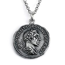 REPLICA Gordian Roman Coin Pendant Necklace #925 Sterling Silver Azaggi N0432S