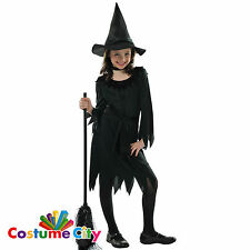 Childs Girls Classic Lil Witch & Hat Halloween Fancy Dress Costume