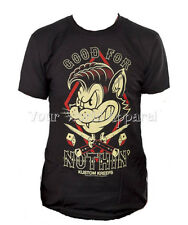 KUSTOM KREEPS SOURPUSS MENS BLACK TEE SHIRT GOOD FOR NOTHIN' BAD CAT ROCKABILLY