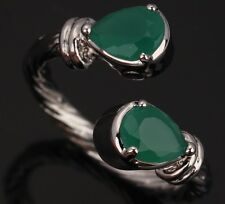 Green Emerald Topaz LOVELY Pears Gemstones Silver Rings US#Size5 6 7 8 9 T0293