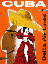 1957 Cuba - Delta Airlines - Travel Advertising Poster