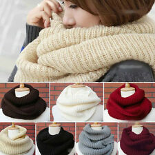 Women Men Winter Warm Infinity 2Circle Cable Knit Cowl Neck Long Scarf Shawl