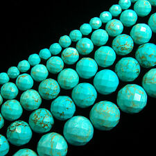 """Stabilized Turquoise Gemstone Faceted Round Beads 16"""" 4,6,8,10,12,14mm"""