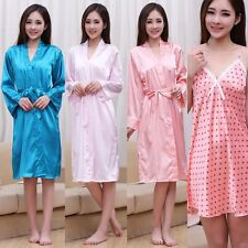 Womens Robes Tow Pcs Ladies Underwear Silk Lingerie Long Maxi Nighwear Hot Dress