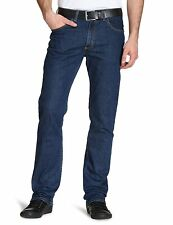 New Lee Brooklyn Mens Straight Leg Stretch Jeans Dark Blue Stonewash Denim Pants