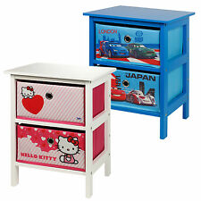 Two Drawer Kids Wooden Toy Clothes Storage Bedside Cabinet Table Childrens Unit