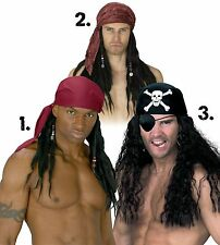Pirate Wig with Bandana Scarf Bandanna Mens Adult Costume Hair Dreads Dreadlocks