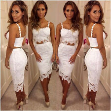 Lady Lace Crochet Two Piece Dress Suits Party Cocktail Skirt + Bustier Tops