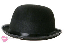 BLACK FELT BOWLER HAT MENS LADIES FANCY DRESS COSTUME VICTORIAN 55CM 58CM 60CM