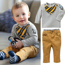 Baby Boys Child Long Sleeve Hoodies T-Shirt Tops + Pants Clothes Sets Outfits