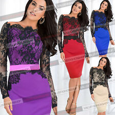 Sexy Women Lace Off Shoulder Pencil Formal Evening Cocktail Party Fit Dress 719