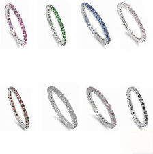 Beautiful Stackable Eternity Anniversary Band .925 Sterling Silver All Sizes
