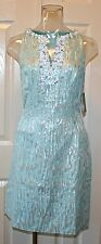 "Lilly Pulitzer Airy Shift Dress, ""Metallic Dripping Sands"", Spa Blue, NWT"