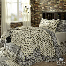 Blue White Paris Themed Damask Print Country Cotton Quilt Bedding Set Collection