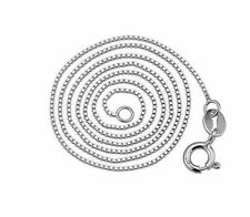 """Solid 925 Sterling Silver BOX Chain 0.8MM Necklace 16""""  40CM White Gold Plate"""
