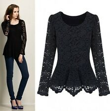 Women Autumn Lace Hollow Out Floral Long Sleeve Peplum Slim T Shirt Blouse Top