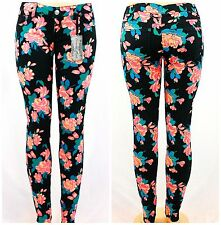 "BLACK FLORAL NEON CORAL VINTAGE ""GYPSY ROSE"" SKINNY STRETCH PANTS / JEANS"