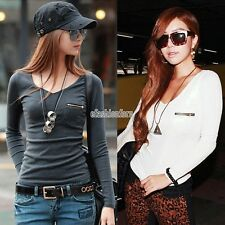 WOMEN BASIC V NECK LONG SLEEVE FITTED PLAIN TOP SOLID STRETCH T SHIRT S M L